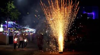 Residents burning crackers during Diwali Celebration in Sector 23 of Chandigarh on Thursday, October 19 2017. Express Photo by Sahil Walia